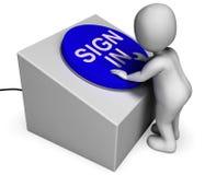 Подпишите внутри вход и пароль учета середин кнопки Стоковое Изображение RF