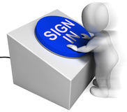 Подпишите внутри отжатые вход и пароль учета середин Стоковые Фото