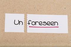 Подпишите при непредсказуемое слова повернутое в обеспеченный Стоковое Фото