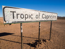 Подпишите тропик чтения ` козерога в Намибии Стоковое Изображение