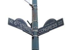 Подпишите для улицы запада 6-ых и бульвара конгресса в Остине, Техасе Стоковая Фотография RF