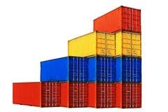 10 по-разному покрашенных штабелированных контейнеров моря Стоковые Фото