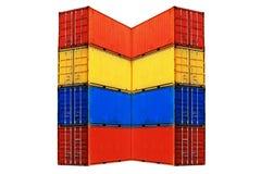 10 по-разному покрашенных штабелированных контейнеров моря Стоковое Изображение