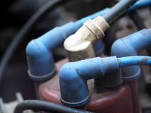Подрежьте фокус крупного плана селективный на частях двигателя электрических Стоковая Фотография RF