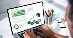 Подрезанное изображение бизнесмена анализируя диаграммы на компьтер-книжке Стоковые Фото
