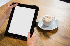 Подрезанное изображение женщины используя цифровую таблетку в кафе Стоковые Изображения