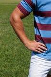 Подрезанное изображение игрока рэгби стоя на поле Стоковое Изображение RF