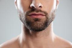 Подрезанное изображение половины укомплектовывает личным составом сторону с бородой Стоковые Фотографии RF