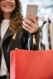Подрезанное фото жизнерадостной дамы при хозяйственные сумки держа телефон Стоковое Фото