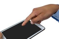 Подрезанные руки бизнесмена используя планшет Стоковое Изображение RF