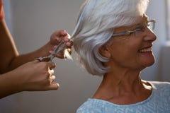 Подрезанные руки волос вырезывания hairsylist старшей женщины Стоковое фото RF