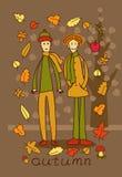 2 подростка в лесе осени иллюстрация штока