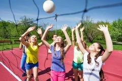 Подростки играют волейбол совместно около сети Стоковое Изображение RF