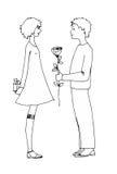 Подростки мальчик и девушка влюбленности Стоковая Фотография
