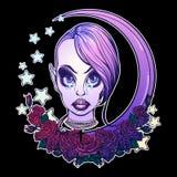 Подростковая пастельная девушка Goth иллюстрация штока