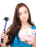 подростковое молотка девушки банка piggy Стоковые Фотографии RF