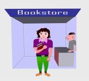 Подросток на bookstore Стоковые Фото