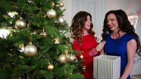 Подруга около рождественская елка, подготавливающ для Новый Год партия, девушка в платьях коктеиля, они говорят, имеют хорошее акции видеоматериалы