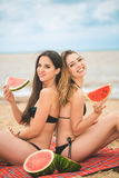 Подруга 2 отдыхая на пляже лета Стоковые Фото