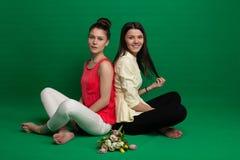 2 подруги брюнет представляя на зеленой предпосылке Стоковое Фото