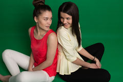 2 подруги брюнет представляя на зеленой предпосылке Стоковая Фотография
