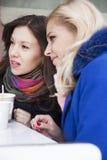 Подруги говоря и выпивая кофе Стоковые Изображения
