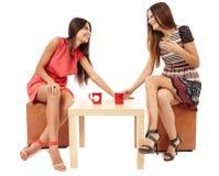 Подруги говоря над чашкой чаю Стоковая Фотография RF