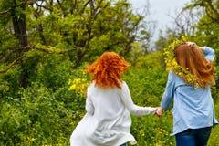 Подруги гуляют рука об руку Стоковые Фото