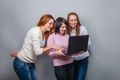3 подруги девушек, смотря компьтер-книжку на сером цвете Стоковая Фотография