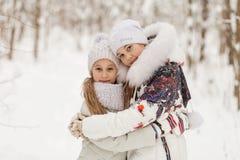2 подруги играя в лесе зимы Стоковые Фото