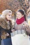Подруги и покупки в осени Стоковые Фото