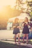 Подруги идя через парк и пишут в их тетрадях Стоковое фото RF