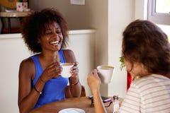 2 подруги наслаждаясь чашкой кофе на кафе Стоковое Изображение RF