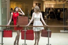 2 подруги на покупках идут на торговый центр с сумками Стоковое фото RF