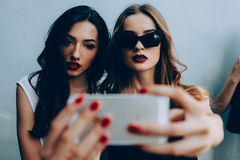 2 подруги принимая selfie Стоковая Фотография