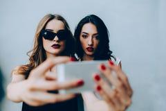 2 подруги принимая selfie Стоковое Изображение