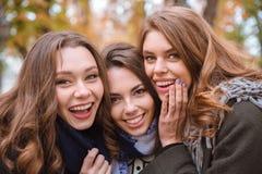 Подруги смотря камеру outdoors Стоковое Изображение RF