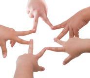 5 подруг держа руки в форме звезды Стоковые Изображения