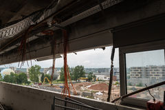 Подрывание больших промышленных зданий Стоковые Изображения RF
