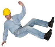 Подрядчик падая, изолированная авария рабочий-строителя, Стоковое Фото