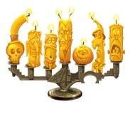 Подсвечник и свечи на хеллоуин Стоковые Изображения RF