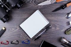 Пол-стекло, нож, turisticheksy комплект Стоковое Изображение RF