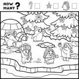 Подсчитывать игру для детей Воспитательная игра пингвины иллюстрация вектора