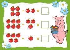 Подсчитывать игру для детей Рабочие листы вычитания Стоковое Изображение