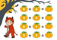Подсчитывать игру для детей Характеры хеллоуина, дьявол иллюстрация штока