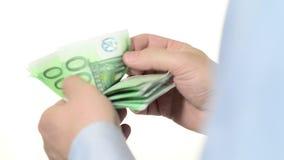 Подсчитывающ евро близко вверх видеоматериал