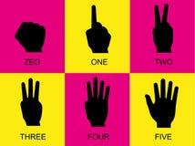 Подсчитывающ знаки руки, розовая и желтая предпосылка, рука подписывает Стоковое фото RF