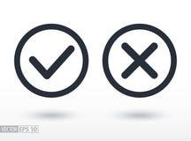 Подтвердите и откажите плоский значок Vector логотип для веб-дизайна, черни и infographics стоковое изображение rf