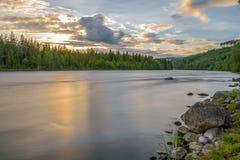 Полуночный заход солнца Стоковое Фото