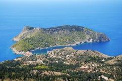 Полуостров Assos в Kefalonia, Греции Стоковое Фото